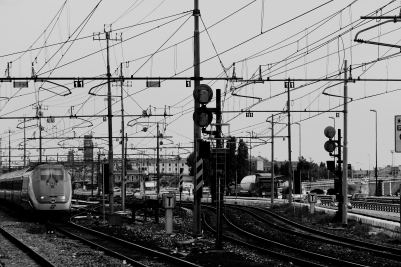 black-and-white-rails-station-railroad
